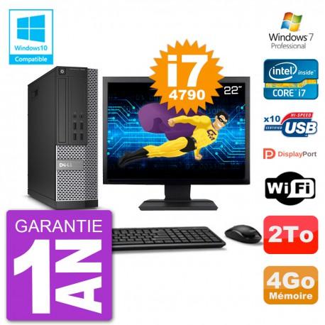 """PC Dell 7020 SFF Ecran 22"""" Intel i7-4790 RAM 4Go Disque 2To Graveur DVD Wifi W7"""