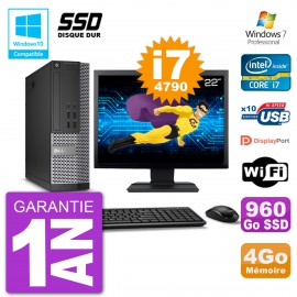 """PC Dell 7020 SFF Ecran 22"""" Intel i7-4790 RAM 4Go SSD 960Go Graveur DVD Wifi W7"""