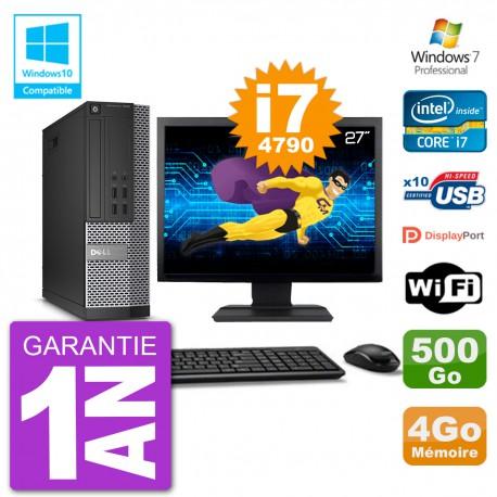 """PC Dell 7020 SFF Ecran 27"""" Intel i7-4790 RAM 4Go Disque 500Go Graveur DVD Wifi W7"""