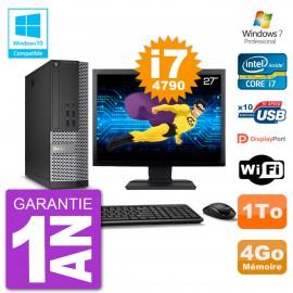 """PC Dell 7020 SFF Ecran 27"""" Intel i7-4790 RAM 4Go Disque 1To Graveur DVD Wifi W7"""