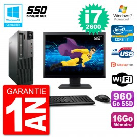 "PC Lenovo M82 SFF Ecran 22"" i7-2600 RAM 16Go SSD 960Go Graveur DVD Wifi W7"