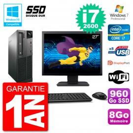 "PC Lenovo M82 SFF Ecran 27"" i7-2600 RAM 8Go SSD 960Go Graveur DVD Wifi W7"