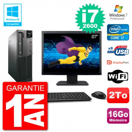 "PC Lenovo M82 SFF Ecran 27"" i7-2600 RAM 16Go Disque 2To Graveur DVD Wifi W7"