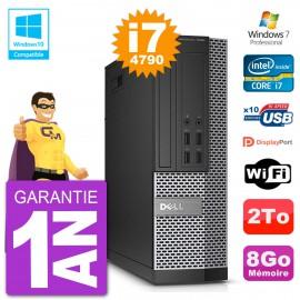 PC Dell 7020 SFF Intel i7-4790 RAM 8Go Disque 2To Graveur DVD Wifi W7