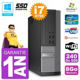 PC Dell 7020 SFF Intel i7-4790 RAM 8Go SSD 240Go Graveur DVD Wifi W7