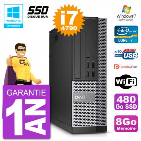 PC Dell 7020 SFF Intel i7-4790 RAM 8Go SSD 480Go Graveur DVD Wifi W7