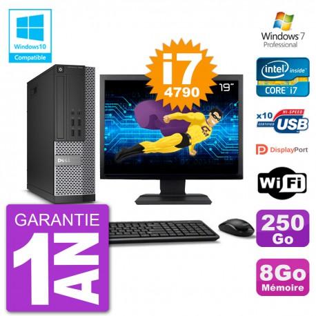 """PC Dell 7020 SFF Ecran 19"""" Intel i7-4790 RAM 8Go Disque 250Go Graveur DVD Wifi W7"""