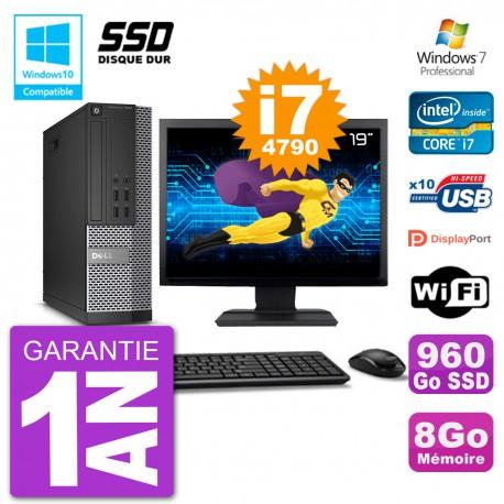 """PC Dell 7020 SFF Ecran 19"""" Intel i7-4790 RAM 8Go SSD 960Go Graveur DVD Wifi W7"""