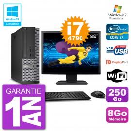 """PC Dell 7020 SFF Ecran 22"""" Intel i7-4790 RAM 8Go Disque 250Go Graveur DVD Wifi W7"""