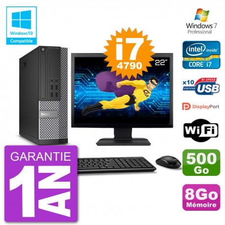 """PC Dell 7020 SFF Ecran 22"""" Intel i7-4790 RAM 8Go Disque 500Go Graveur DVD Wifi W7"""