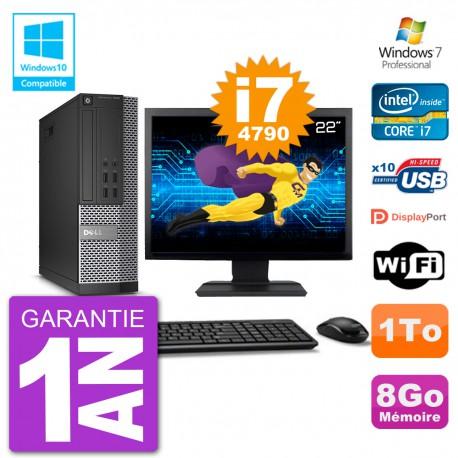 """PC Dell 7020 SFF Ecran 22"""" Intel i7-4790 RAM 8Go Disque 1To Graveur DVD Wifi W7"""