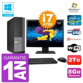 """PC Dell 7020 SFF Ecran 22"""" Intel i7-4790 RAM 8Go Disque 2To Graveur DVD Wifi W7"""