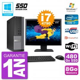 """PC Dell 7020 SFF Ecran 22"""" Intel i7-4790 RAM 8Go SSD 480Go Graveur DVD Wifi W7"""
