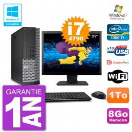 """PC Dell 7020 SFF Ecran 27"""" Intel i7-4790 RAM 8Go Disque 1To Graveur DVD Wifi W7"""