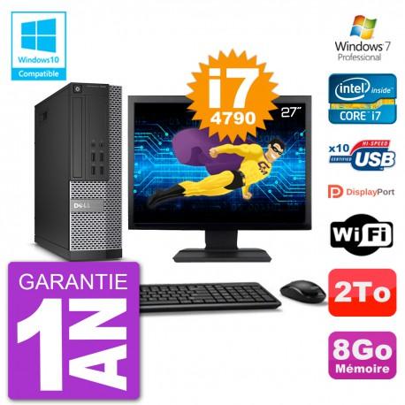 """PC Dell 7020 SFF Ecran 27"""" Intel i7-4790 RAM 8Go Disque 2To Graveur DVD Wifi W7"""