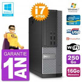PC Dell 7020 SFF Intel i7-4790 RAM 16Go Disque 250Go Graveur DVD Wifi W7