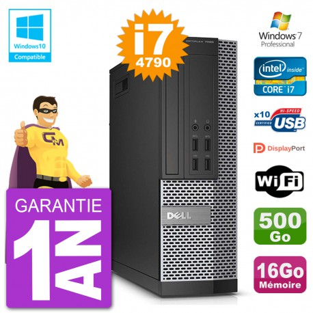 PC Dell 7020 SFF Intel i7-4790 RAM 16Go Disque 500Go Graveur DVD Wifi W7