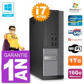 PC Dell 7020 SFF Intel i7-4790 RAM 16Go Disque 1To Graveur DVD Wifi W7
