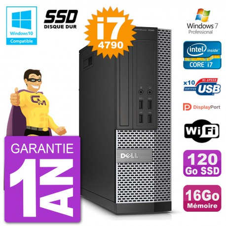 PC Dell 7020 SFF Intel i7-4790 RAM 16Go SSD 120Go Graveur DVD Wifi W7