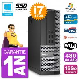 PC Dell 7020 SFF Intel i7-4790 RAM 16Go SSD 480Go Graveur DVD Wifi W7