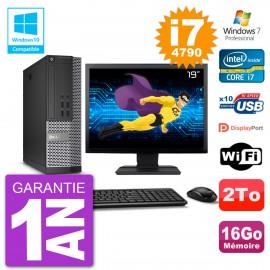 """PC Dell 7020 SFF Ecran 19"""" Intel i7-4790 RAM 16Go Disque 2To Graveur DVD Wifi W7"""