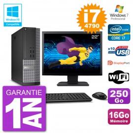 """PC Dell 7020 SFF Ecran 22"""" Intel i7-4790 RAM 16Go Disque 250Go Graveur DVD Wifi W7"""