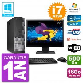 """PC Dell 7020 SFF Ecran 22"""" Intel i7-4790 RAM 16Go Disque 500Go Graveur DVD Wifi W7"""