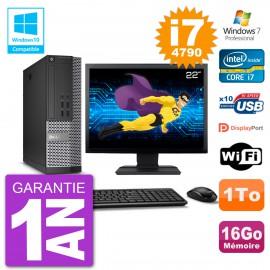 """PC Dell 7020 SFF Ecran 22"""" Intel i7-4790 RAM 16Go Disque 1To Graveur DVD Wifi W7"""