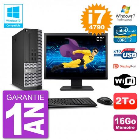 """PC Dell 7020 SFF Ecran 22"""" Intel i7-4790 RAM 16Go Disque 2To Graveur DVD Wifi W7"""