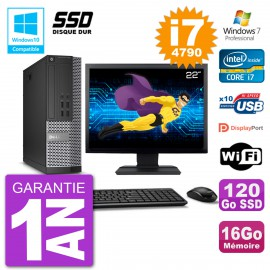 """PC Dell 7020 SFF Ecran 22"""" Intel i7-4790 RAM 16Go SSD 120Go Graveur DVD Wifi W7"""