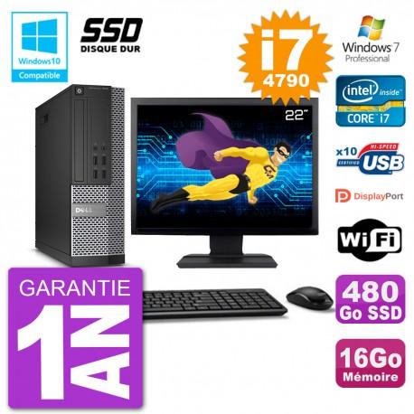 """PC Dell 7020 SFF Ecran 22"""" Intel i7-4790 RAM 16Go SSD 480Go Graveur DVD Wifi W7"""