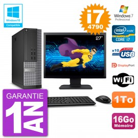 "PC Dell 7020 SFF Ecran 27"" Intel i7-4790 RAM 16Go Disque 1To Graveur DVD Wifi W7"