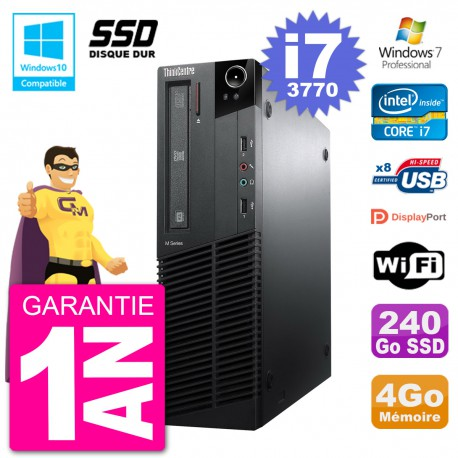PC Lenovo ThinkCentre M82 SFF i7-3770 RAM 4Go SSD 240Go Graveur DVD Wifi W7