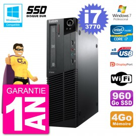 PC Lenovo ThinkCentre M82 SFF i7-3770 RAM 4Go SSD 960Go Graveur DVD Wifi W7