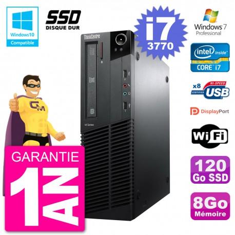 PC Lenovo ThinkCentre M82 SFF i7-3770 RAM 8Go SSD 120Go Graveur DVD Wifi W7