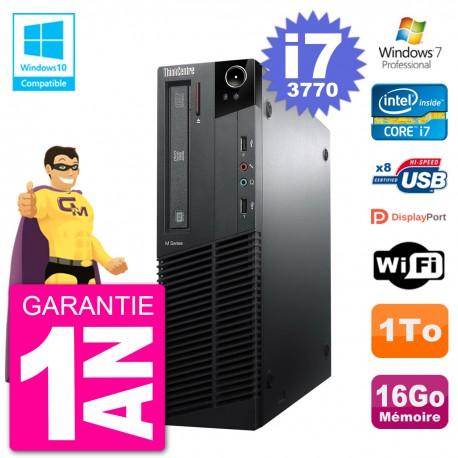 PC Lenovo ThinkCentre M82 SFF i7-3770 RAM 16Go Disque 1To Graveur DVD Wifi W7