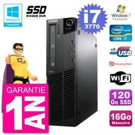 PC Lenovo ThinkCentre M82 SFF i7-3770 RAM 16Go SSD 120Go Graveur DVD Wifi W7