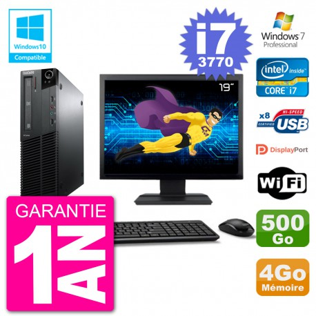 "PC Lenovo M82 SFF Ecran 19"" i7-3770 RAM 4Go Disque 500Go Graveur DVD Wifi W7"