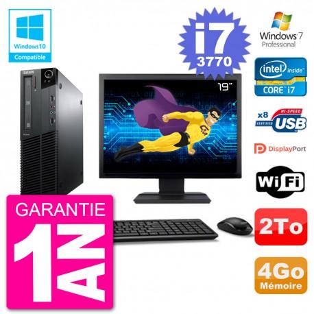 "PC Lenovo M82 SFF Ecran 19"" i7-3770 RAM 4Go Disque 2To Graveur DVD Wifi W7"