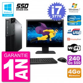 "PC Lenovo M82 SFF Ecran 19"" i7-3770 RAM 4Go SSD 240Go Graveur DVD Wifi W7"