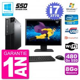 "PC Lenovo M82 SFF Ecran 19"" i7-3770 RAM 8Go SSD 480Go Graveur DVD Wifi W7"