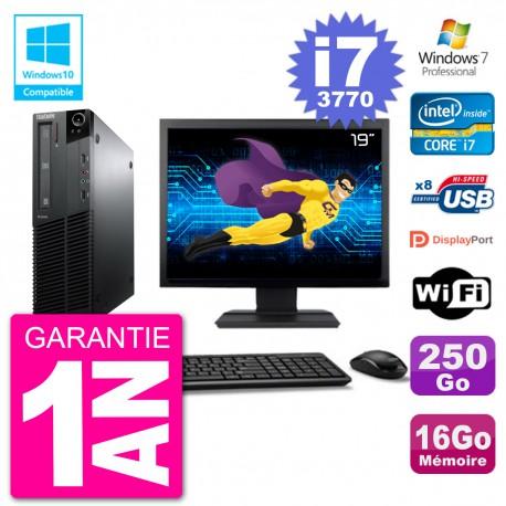 "PC Lenovo M82 SFF Ecran 19"" i7-3770 RAM 16Go Disque 250Go Graveur DVD Wifi W7"