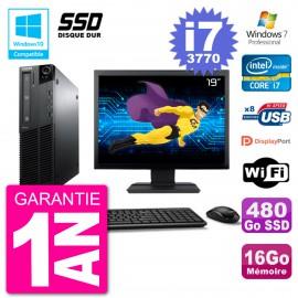 "PC Lenovo M82 SFF Ecran 19"" i7-3770 RAM 16Go SSD 480Go Graveur DVD Wifi W7"