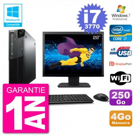 "PC Lenovo M82 SFF Ecran 22"" i7-3770 RAM 4Go Disque 250Go Graveur DVD Wifi W7"