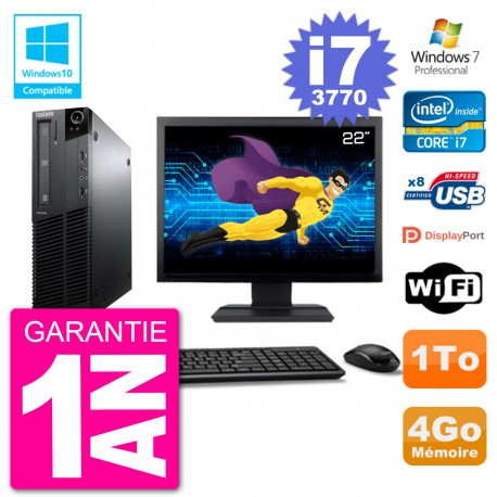 "PC Lenovo M82 SFF Ecran 22"" i7-3770 RAM 4Go Disque 1To Graveur DVD Wifi W7"