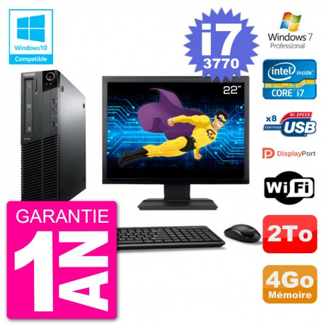 "PC Lenovo M82 SFF Ecran 22"" i7-3770 RAM 4Go Disque 2To Graveur DVD Wifi W7"