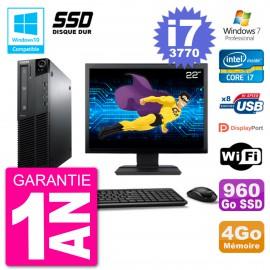 "PC Lenovo M82 SFF Ecran 22"" i7-3770 RAM 4Go SSD 960Go Graveur DVD Wifi W7"