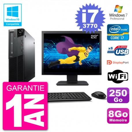 "PC Lenovo M82 SFF Ecran 22"" i7-3770 RAM 8Go Disque 250Go Graveur DVD Wifi W7"