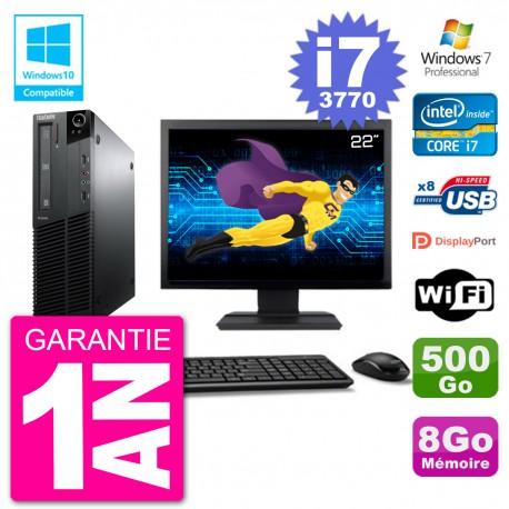 "PC Lenovo M82 SFF Ecran 22"" i7-3770 RAM 8Go Disque 500Go Graveur DVD Wifi W7"