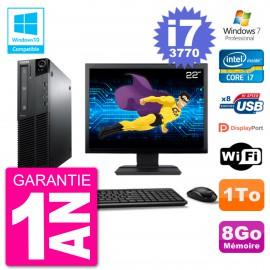 "PC Lenovo M82 SFF Ecran 22"" i7-3770 RAM 8Go Disque 1To Graveur DVD Wifi W7"
